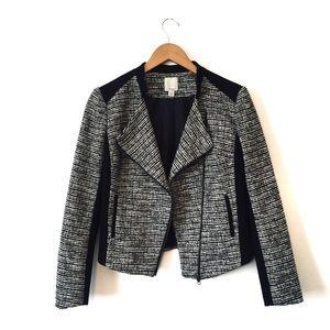 Halogen Black White Tweed Asymmetrical Jacket
